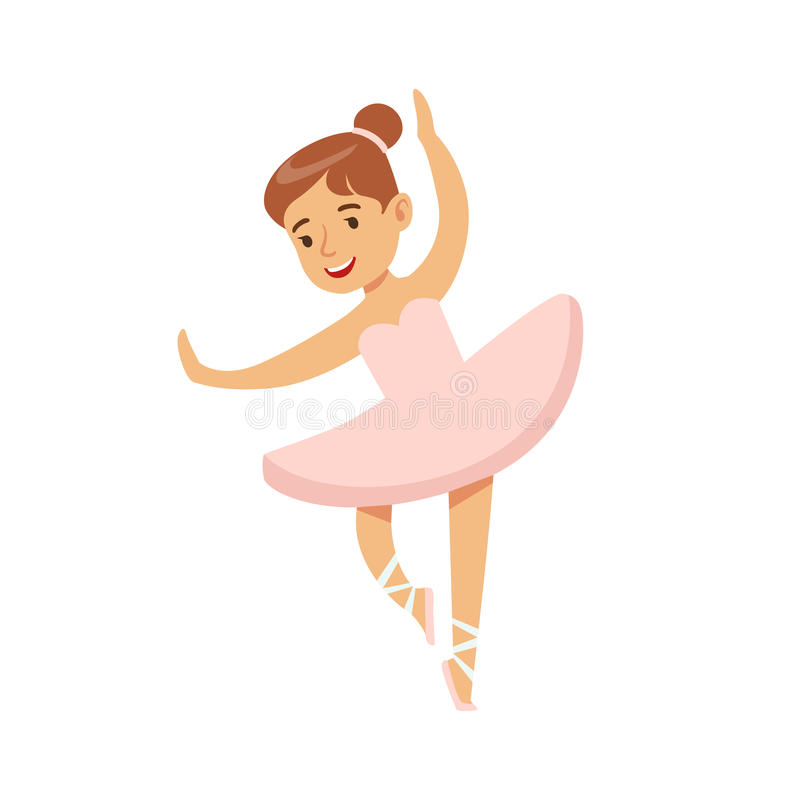 Little Girl In Pink Dress Dancing Ballet In Classic Dance Class, Future Professional Ballerina Dancer. Small Happy Kid And Adorable Stage Performance Vector royalty free illustration