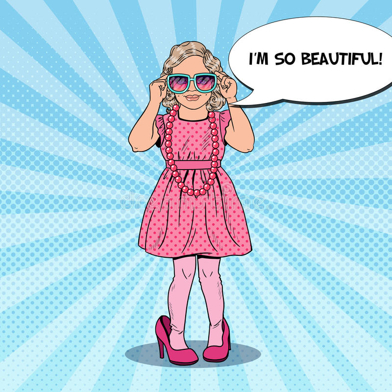 Little Girl in Pink Dress and Mothers Shoes. Fashion Model. Pop Art illustration. Little Girl in Pink Dress and Mothers Shoes. Fashion Model. Pop Art Vector vector illustration