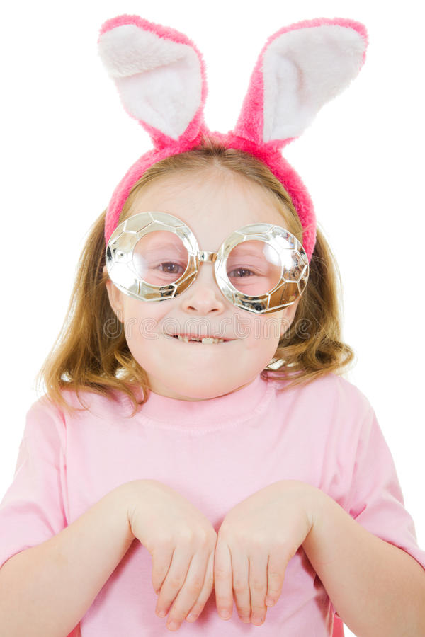 The Little Girl With Pink Ears Stock Images