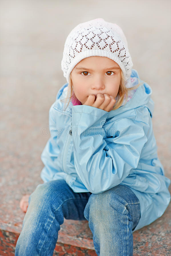 Little Girl In Pink Hat And Jacket Royalty Free Stock Photos
