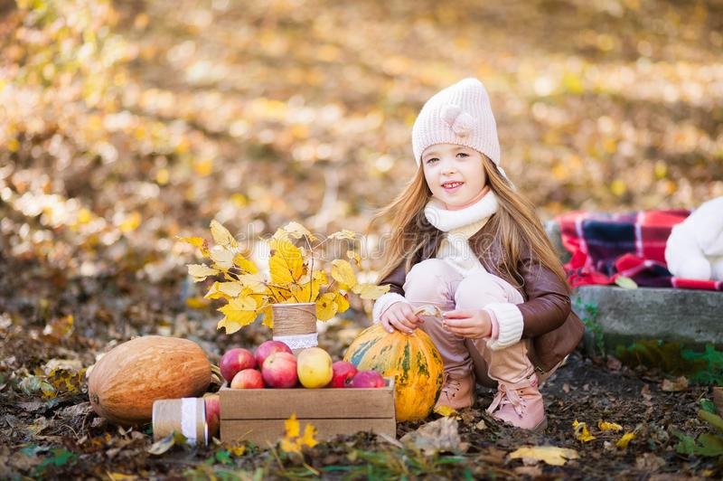 Little girl in a pink hat and leather jacket in the fall with pumpkins and leaves close up. Little girl in a pink hat and leather jacket in the fall with stock photos