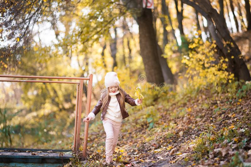 Funny portrait of a little girl. Little girl in a pink hat on a walk in the fall. Child girl in a jacket happily runs and collects. Little girl in a pink hat on stock photography