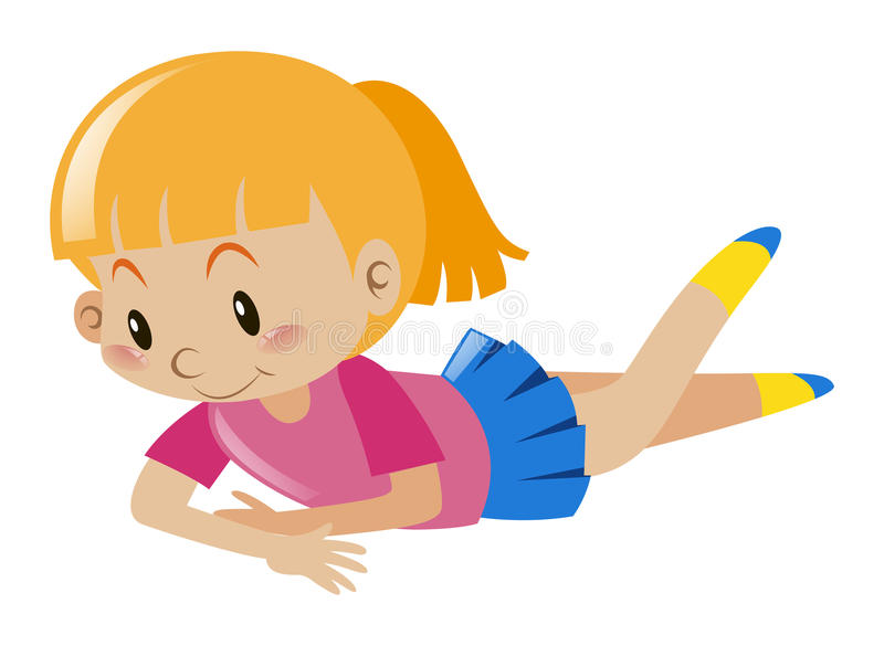 Little girl in pink looking down vector illustration