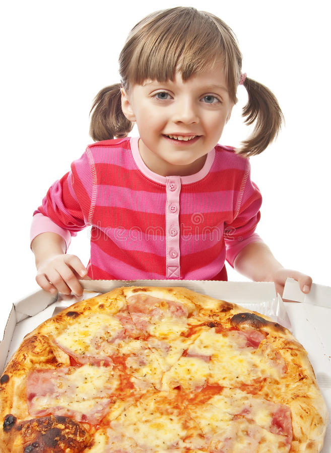Download Little girl with pizza stock photo. Image of girl, childhood - 23463136