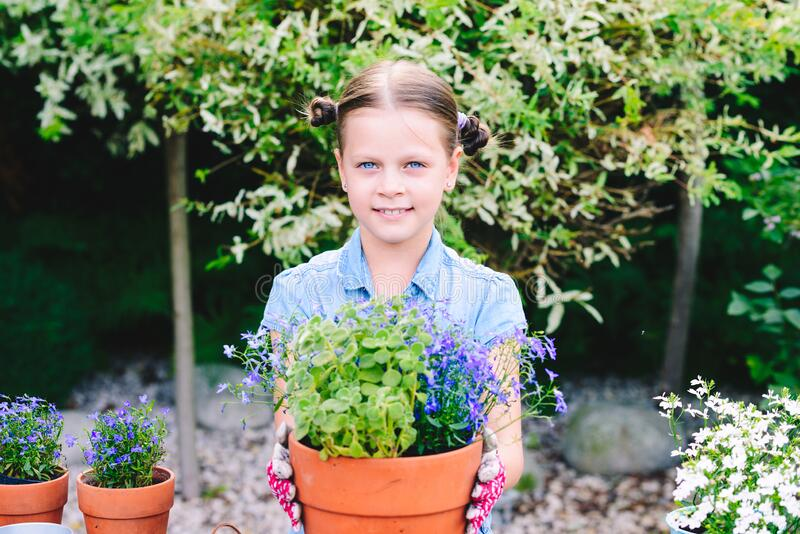 Little girl planting flowers in pots royalty free stock image