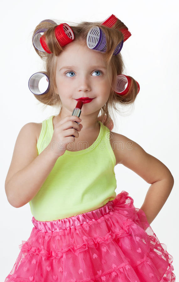 Little girl play big one stock images