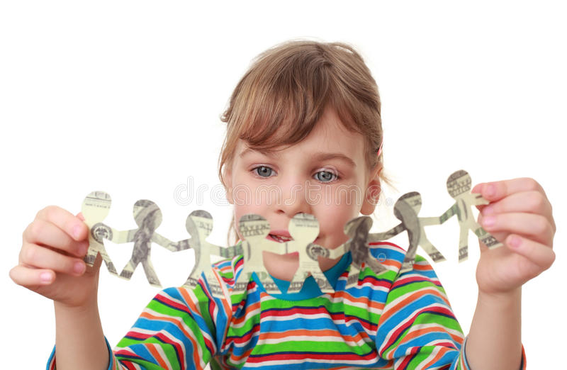 Little Girl Play With Garland Of Paper Creatures Stock Images