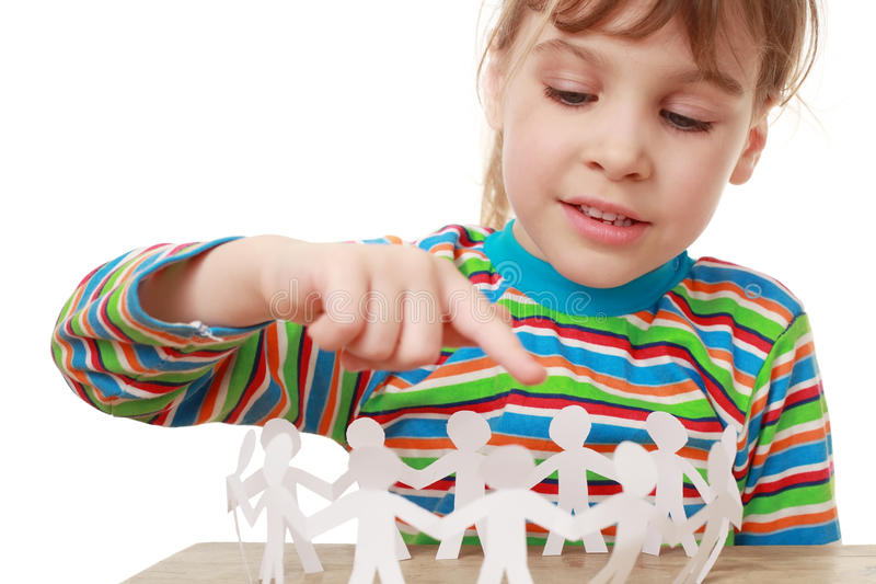Download Little Girl Play With Garland Of Paper Creatures Stock Image - Image: 18849065