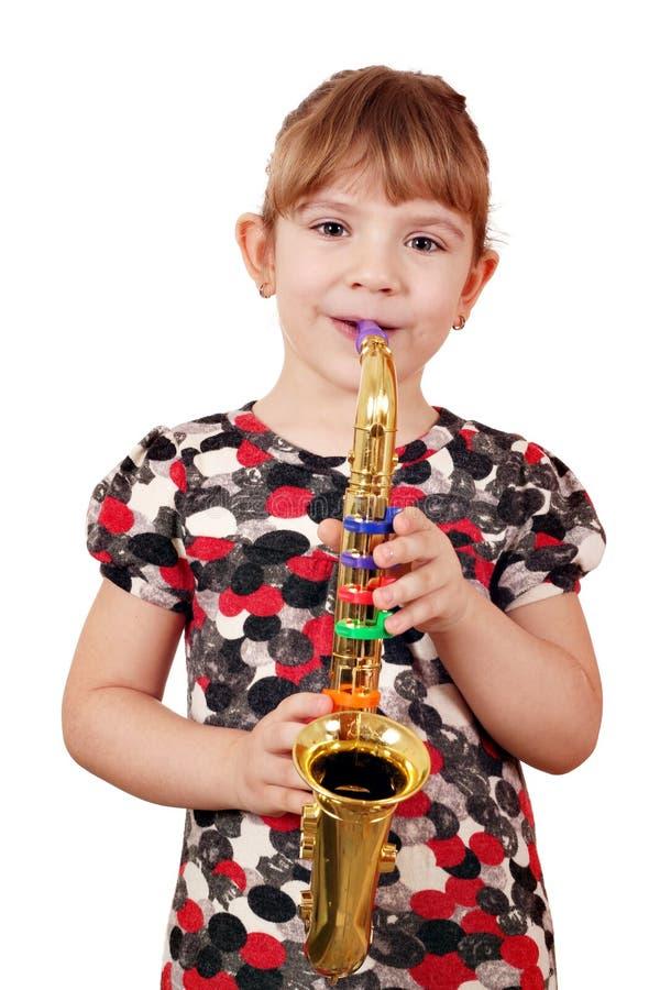 Little Girl Play Saxophone Royalty Free Stock Photos
