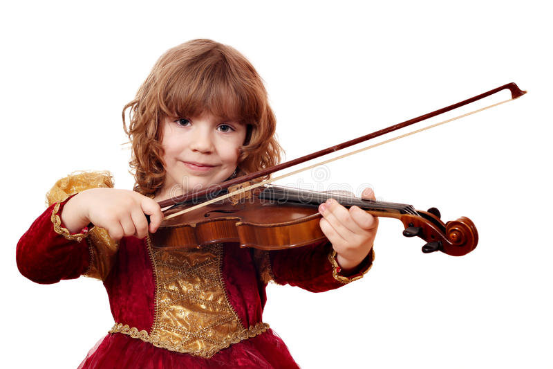 Download Little Girl Play Violin Stock Photo - Image: 27196440