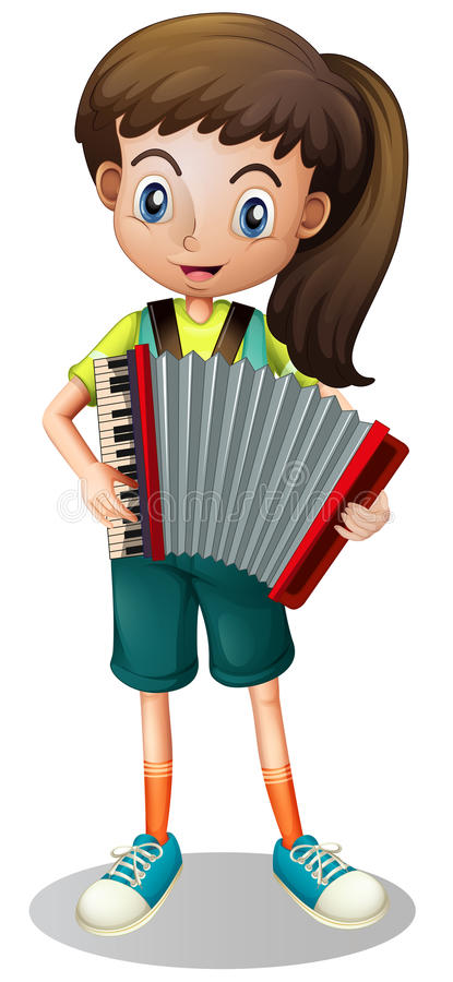 Little girl playing accordion. Illustration vector illustration