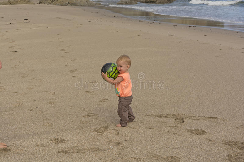 Little girl playing with a ball on the beach stock image