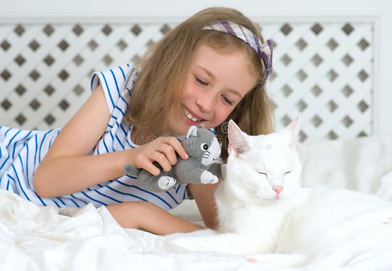 Little girl playing with cat. stock photography