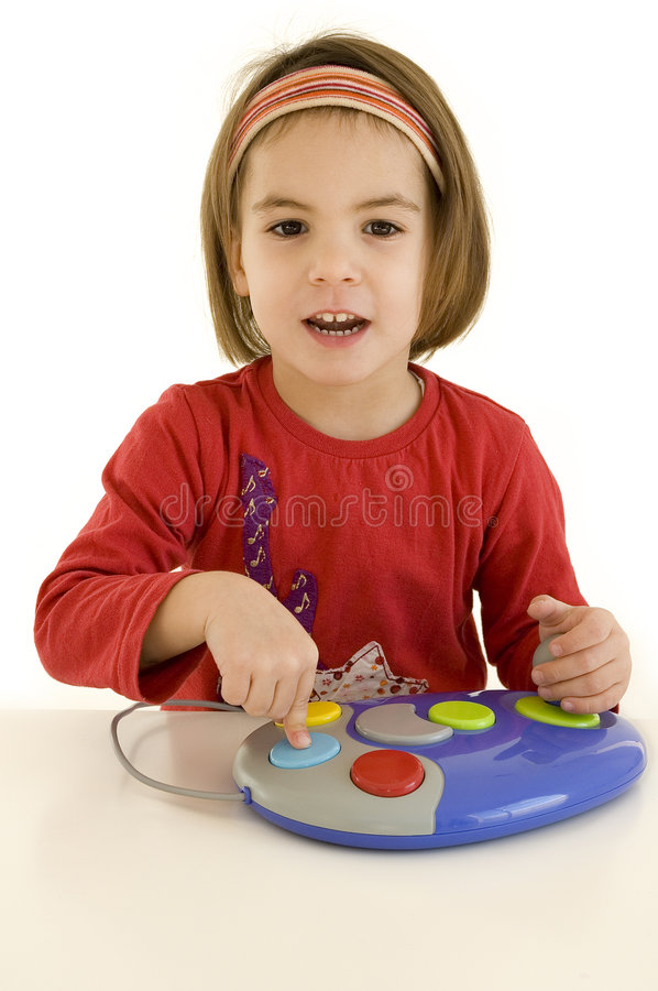 Download Little Girl Playing Computer Games Stock Photo - Image: 6188480
