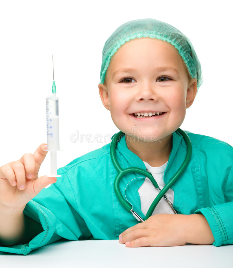 Little Girl Is Playing Doctor With Syringe Stock Images