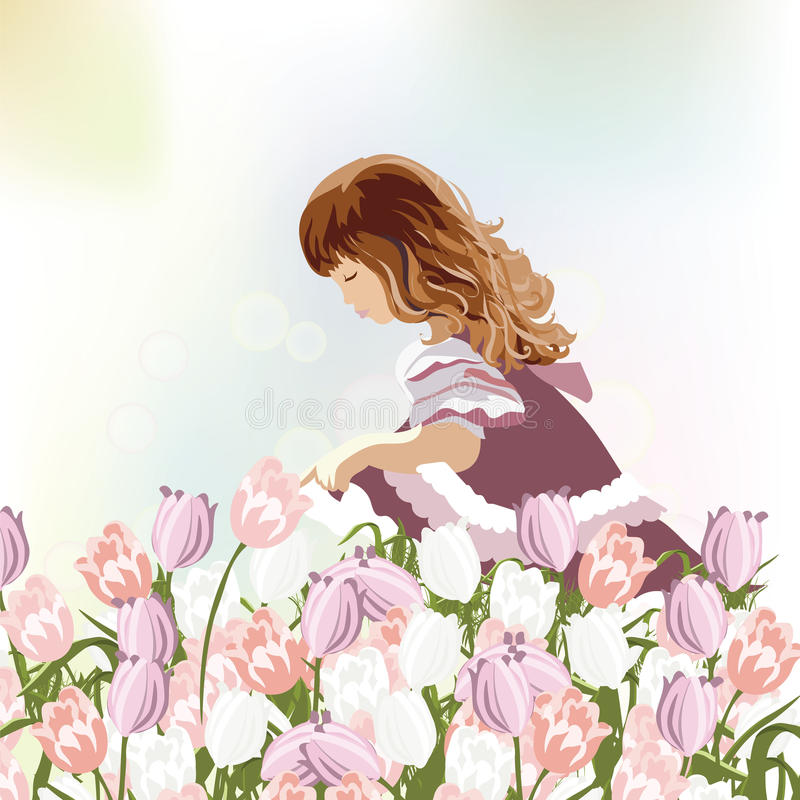 Little girl playing in a field of tulips flowers stock illustration