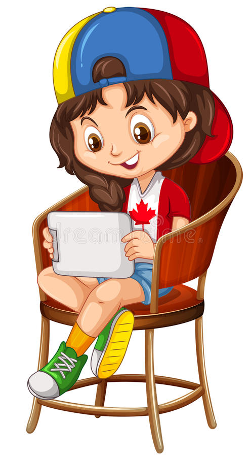 Little girl playing game on tablet vector illustration