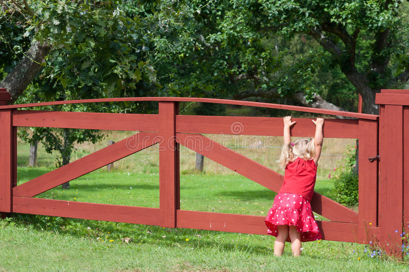 Download Little Girl Playing On A Gate Stock Image - Image: 26176541