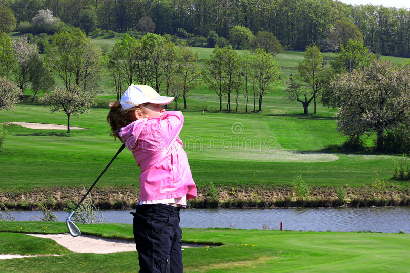 Download Little girl playing golf stock image. Image of grass, recreation - 9231573