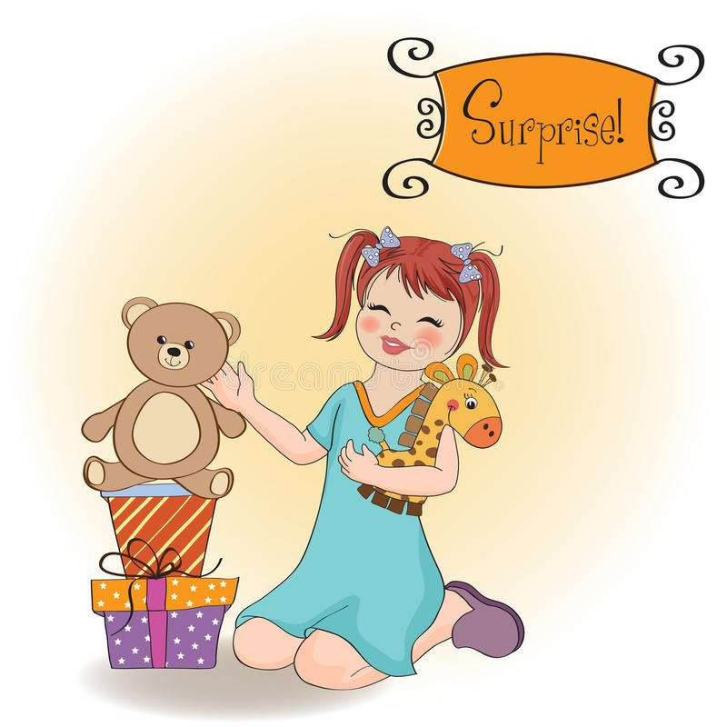 Download Little Girl Playing With Her Birthday Gifts Stock Vector - Illustration of announcement, frame: 23756257