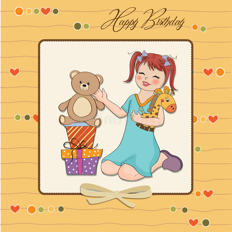 Download Little Girl Playing With Her Birthday Gifts Stock Photo - Image: 23756280