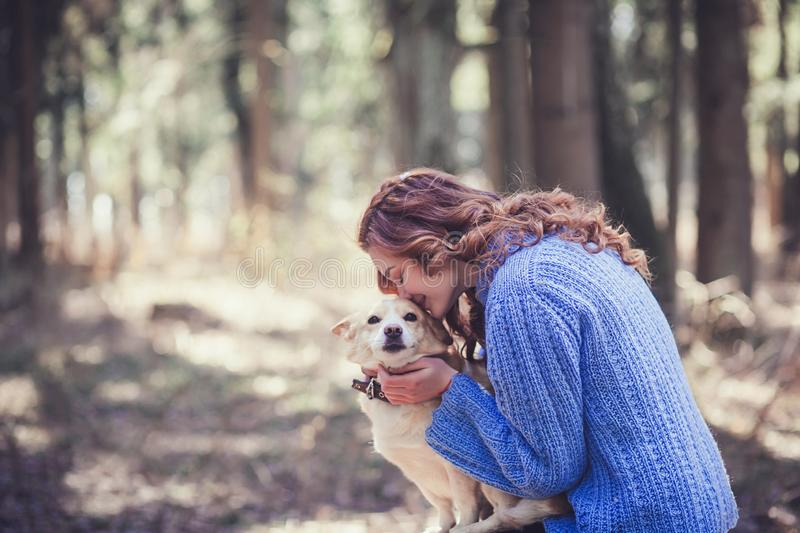 Little girl playing with her dog stock images