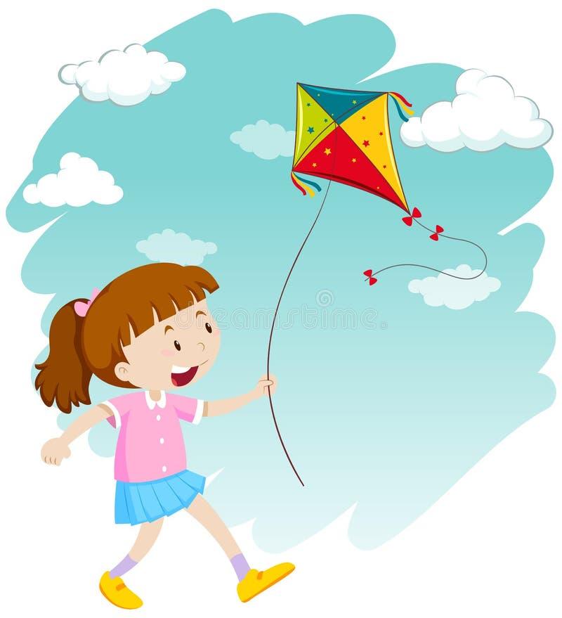 Little girl playing kite vector illustration