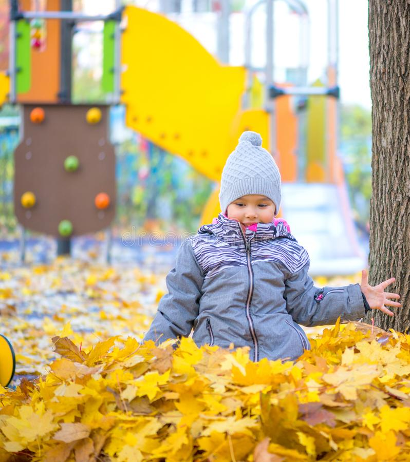 Little girl playing with leaves and smilling royalty free stock photo