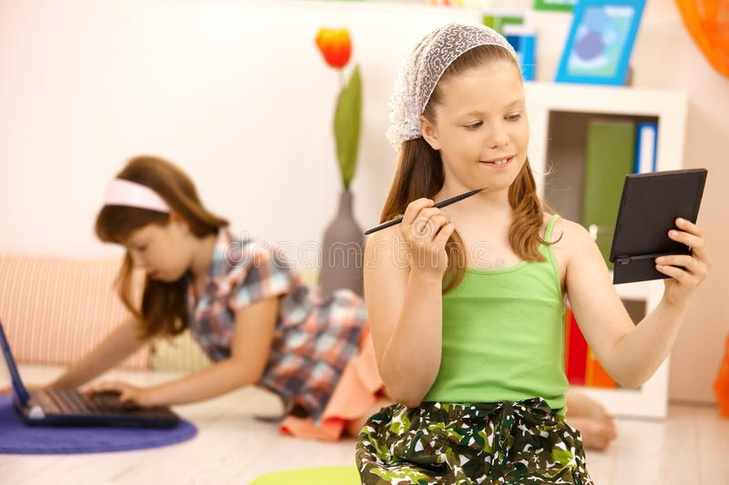 Download Little Girl Playing With Makeup At Home Stock Photo - Image: 18493114