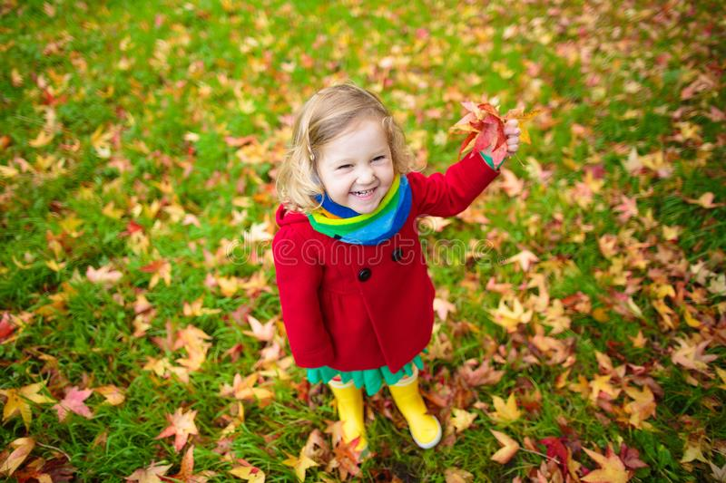 Little girl playing with maple leaf in autumn royalty free stock image
