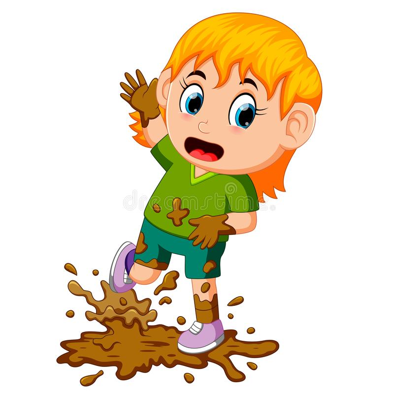 Little girl playing in the mud stock illustration