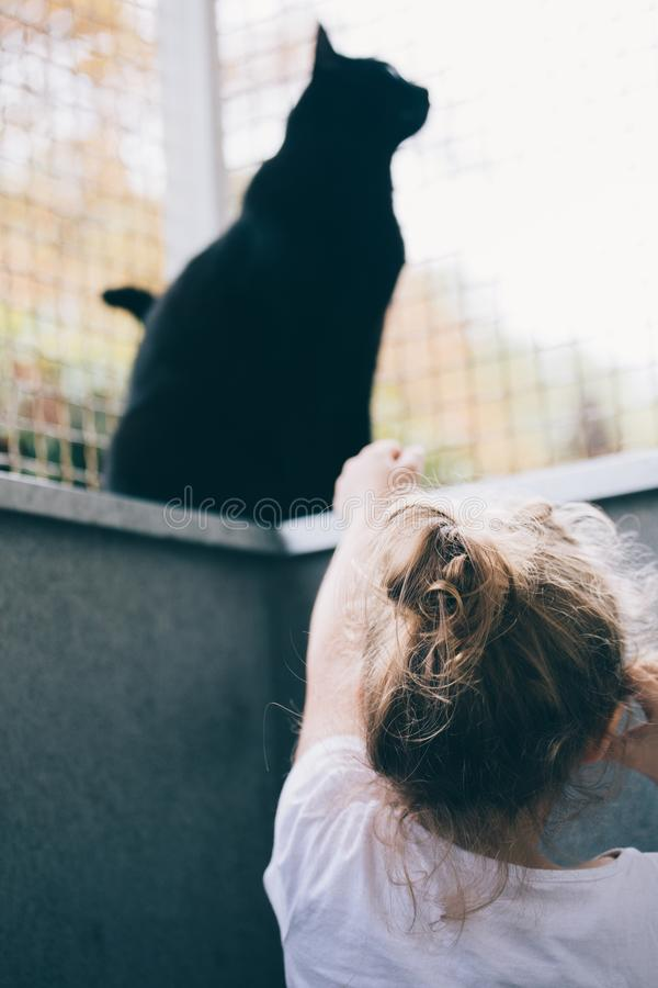 Little girl playing in outdoor pen with her black cat - Pets and Children Concept royalty free stock image