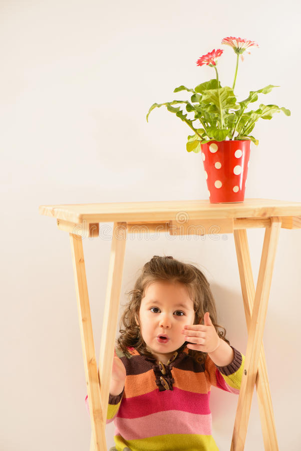 Little girl playing peek-a-boo. Cute little girl hiding under the table, red vase with flower on table, studio shot, on white background stock photo