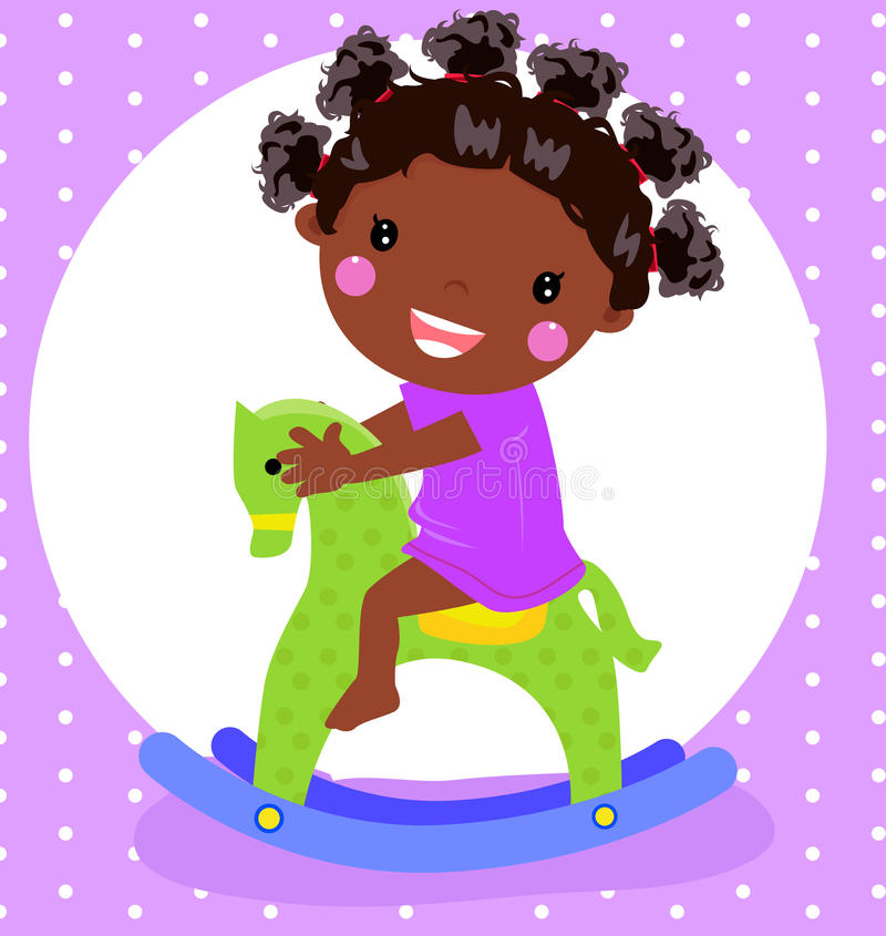 Little girl playing with rocking horse vector illustration