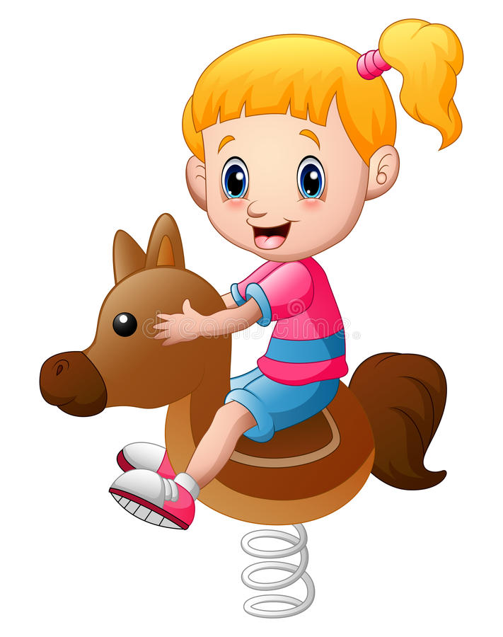 Little girl playing rocking horse vector illustration
