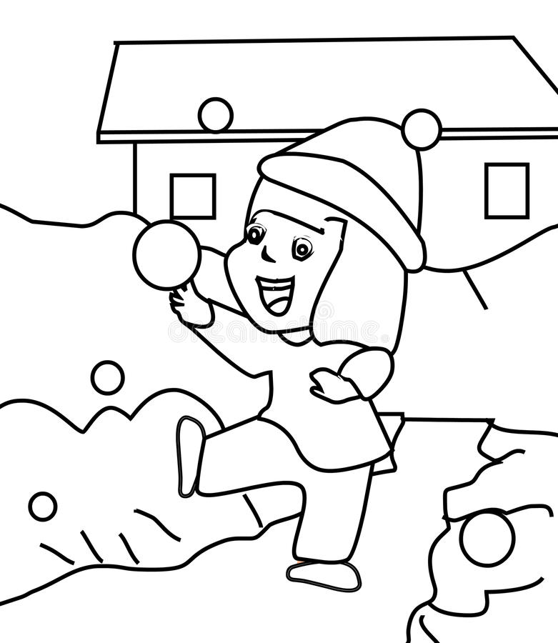 Little Girl Playing In Snow Coloring Page Stock Illustration ...