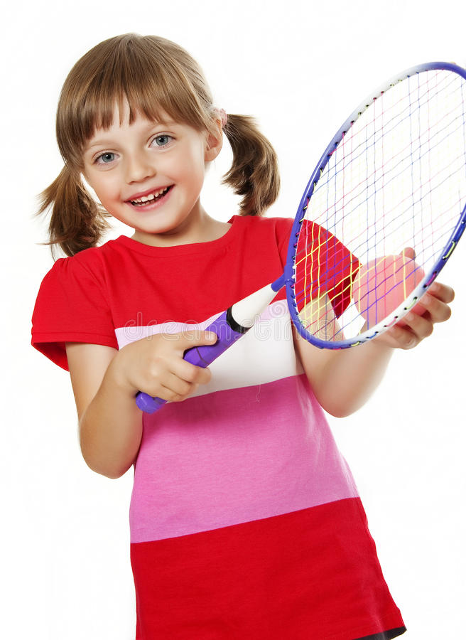 Download Little Girl Playing Tennis Royalty Free Stock Photos - Image: 26391948