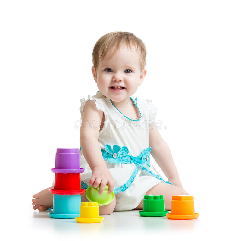 Girl Toys Color : Little girl playing with toys stock photo image
