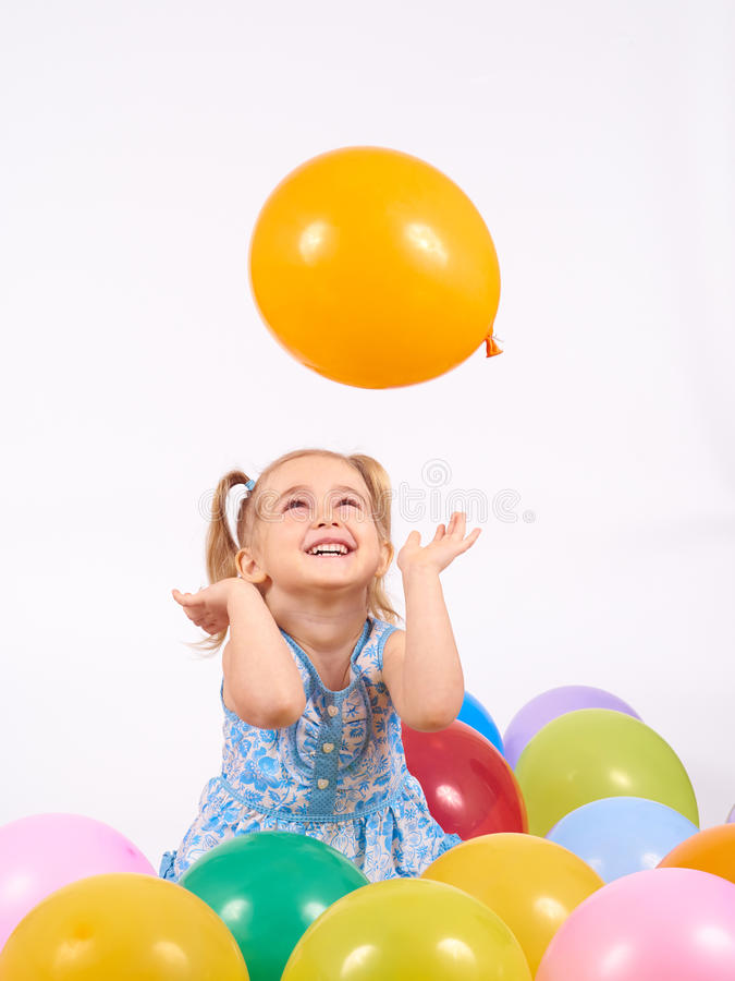Free Little Girl Playing With Balloons. Royalty Free Stock Image - 69962826