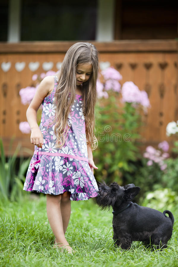 Free Little Girl Playing With Her Dog Stock Image - 46128541