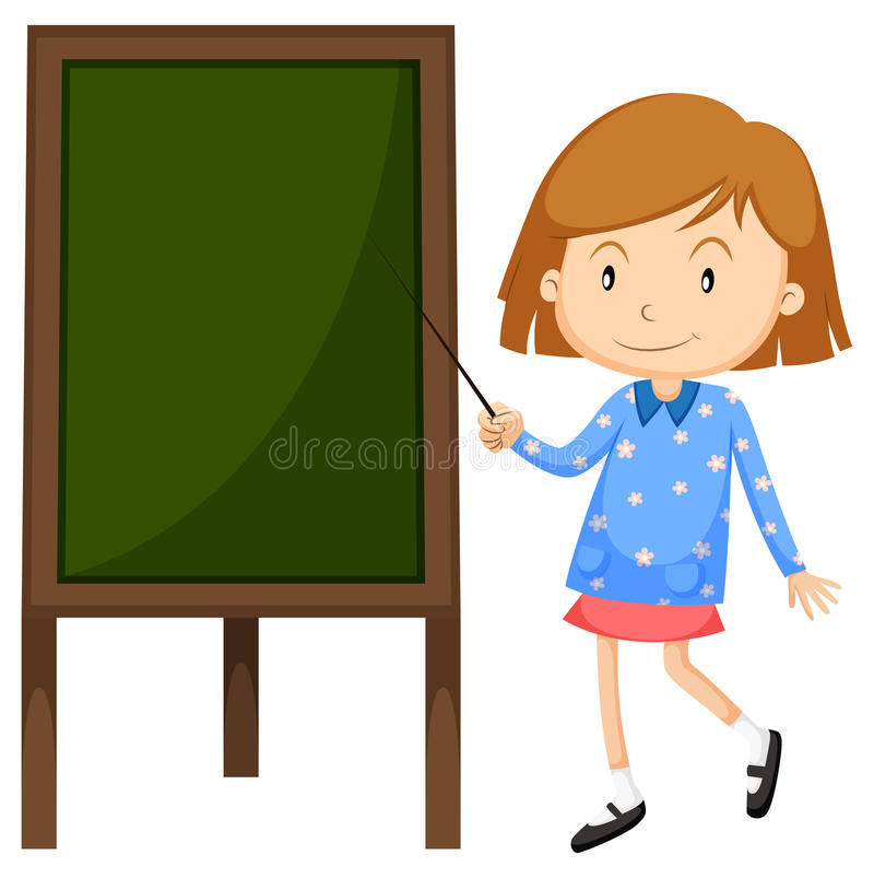 Little girl pointing at the board royalty free illustration
