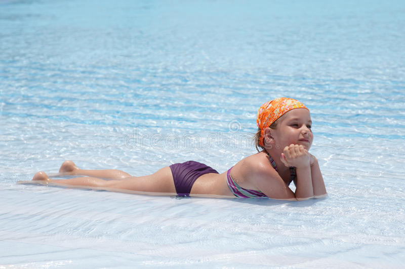 Download Little girl in pool. stock image. Image of child, female - 15008581