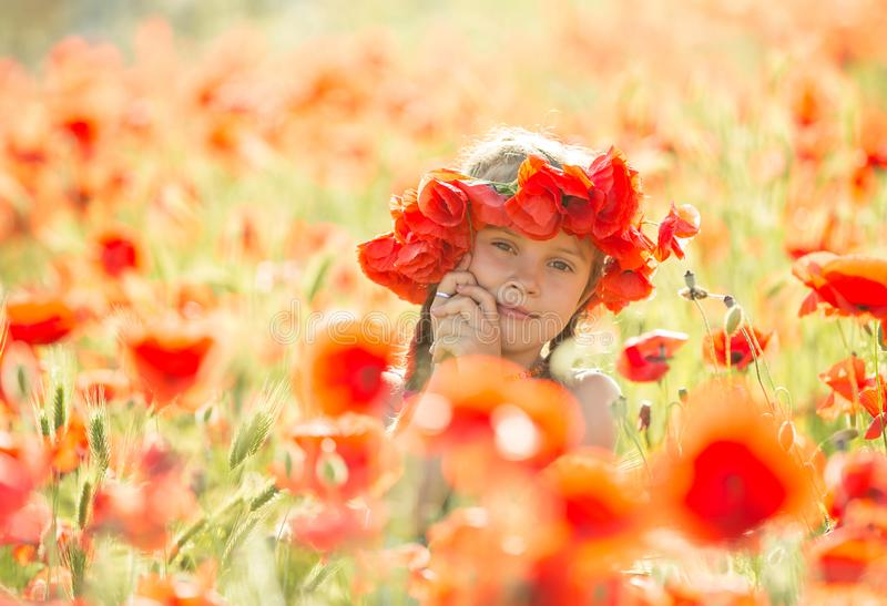 Download Little girl in a poppies stock image. Image of background - 118144347