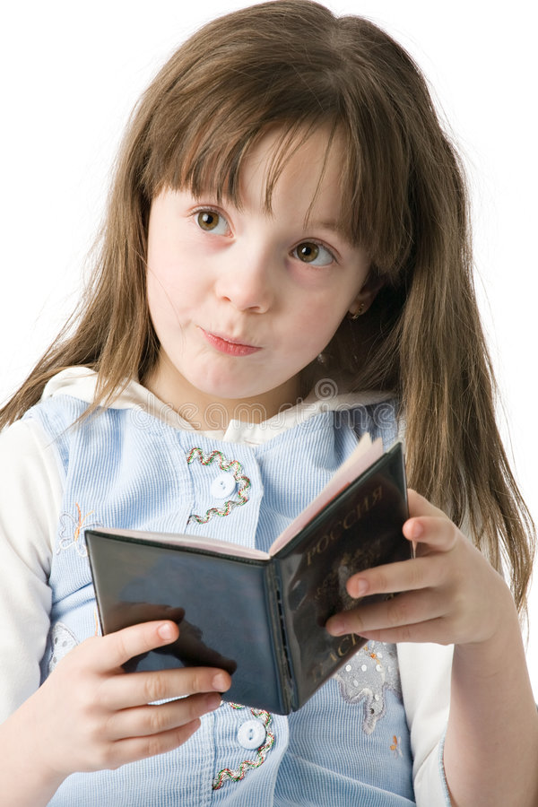 Little girl portrait with passport royalty free stock image