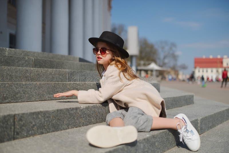 Little girl portrait on the street royalty free stock photo
