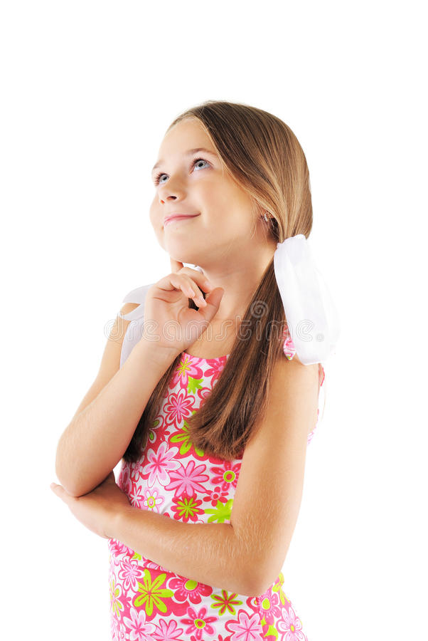 Little girl posing on white background. Little girl posing in fashion style royalty free stock photos