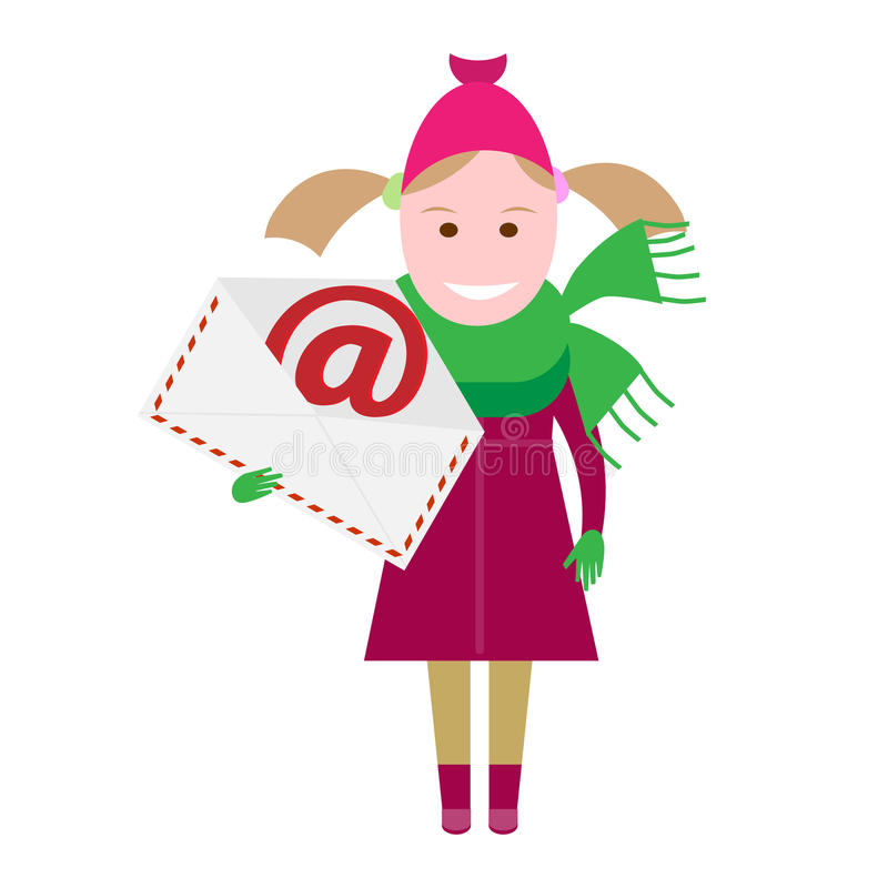 Little girl with a postal envelope vector illustration