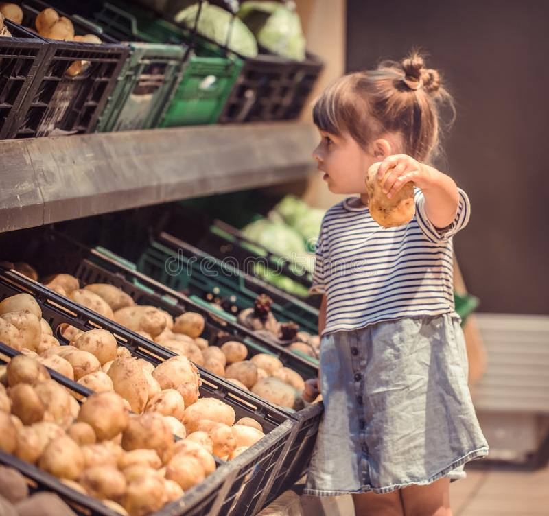 Little girl with potatoes in hands. Little girl with a potato in hands near the counter in the store, the concept of shopping for food royalty free stock image