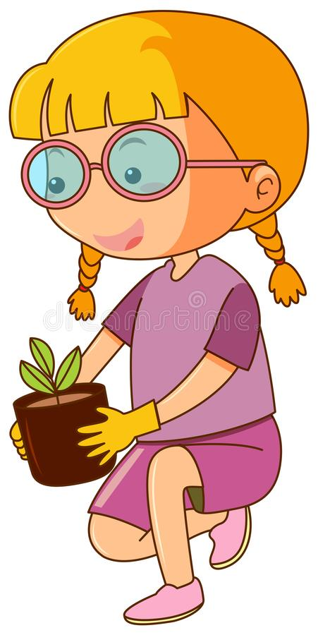 Little girl and potted plant stock illustration