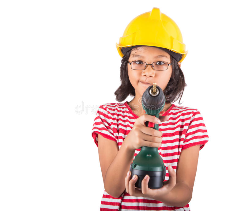 Little Girl And Power Drill III. Little asian malay girl with power drill over white bakground stock photos